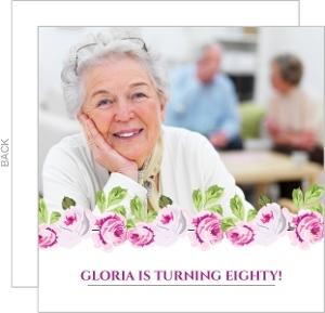 Elegant Pink Floral 80Th Birthday Invitation