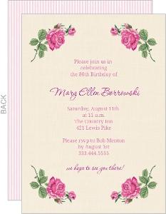 Cream Floral 80Th Birthday Invite