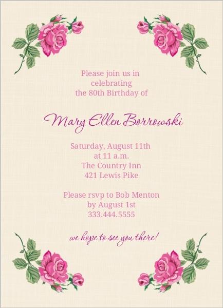 Cream Floral 80Th Birthday Invite | 80th Birthday Invitations