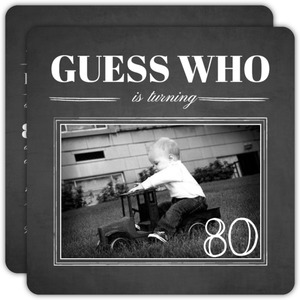 Chalkboard Guess Who Simple Photo  80th Birthday Invitation