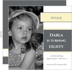 Square Yellow And Grey 80Th Birthday Party Invitation