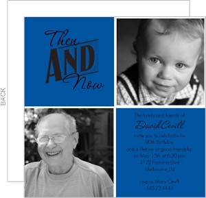 Then And Now Photo Squares 90Th Birthday Invitation