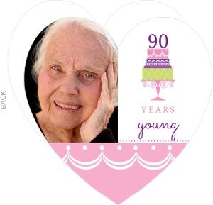 Pink And Purple Cake 90Th Birthday Invitation