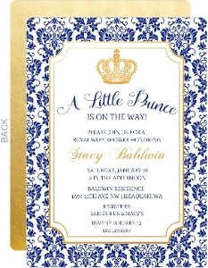 Little Prince Damask Pattern Baby Shower Invitation