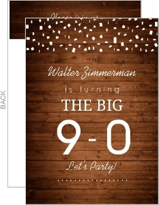 Woodgrain And White Confetti 90Th Birthday Invitation