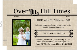 Over The Hill Times 90Th Birthday Invitation