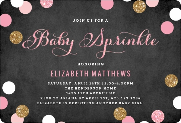 pink and gold baby sprinkle invitation | girl baby shower invitations, Baby shower invitations