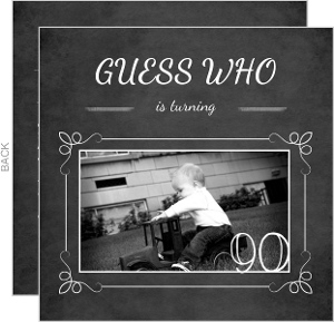 Chalkboard Guess Who Simple Photo 90Th Birthday Invitation
