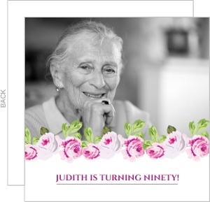 Elegant Pink Floral 90Th Birthday Invitation