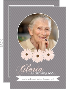 Gray Striped Floral Photo 100Th Birthday Invitation