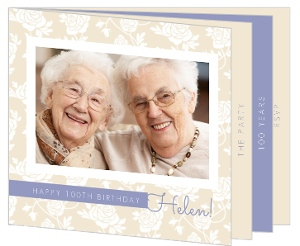 Tan And Periwinkle Floral 100Th Birthday Invitation Booklet