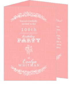 Vintage Rose Trifold 100Th Birthday Invitation