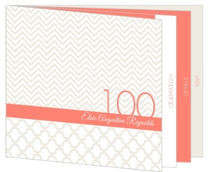 Modern Pattern Cream And Coral 100Th Birthday Invitation