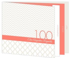 Modern Pattern Cream And Coral 100Th Birthday Invitation