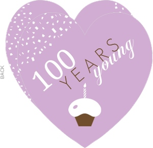 Purple Cupcake Heart 100Th Birthday Invitation