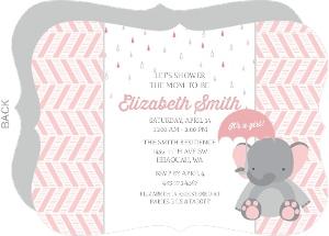 Pink Elephant And Chevron Baby Shower Invitation