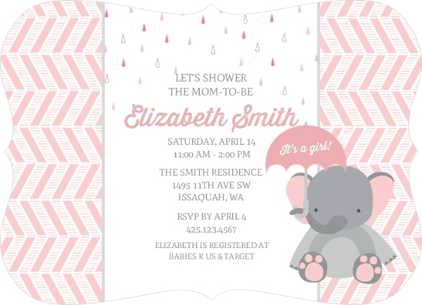 Pink Elephant And Chevron Baby Shower Invitation Girl Baby