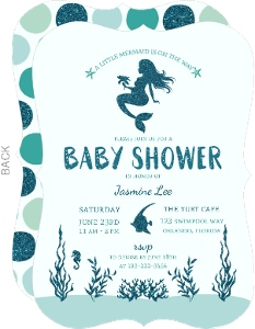 Faux Glitter Mermaid Baby Shower Invitation