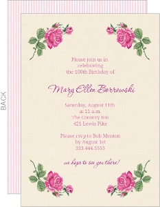 Cream And Floral Set 100Th Birthday Invitation