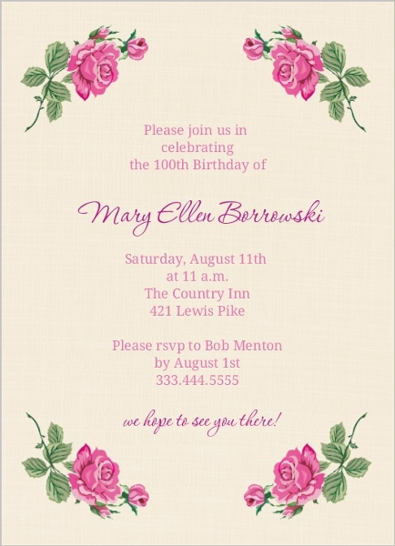 Cream And Floral Set 100Th Birthday Invitation – 90th Birthday Invitation Cards