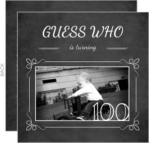 Chalkboard Guess Who Simple Photo 100Th Birthday Invitation