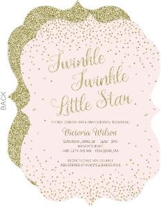 Glittery Twinkle Twinkle Baby Shower Invitation