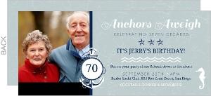 Blue Nautical Anchor 70th Birthday Invitation
