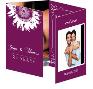 Purple and White Sunflower 20th Anniversary Invitation