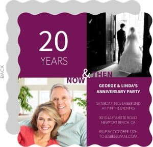 Purple Modern Squares 20Th Anniversary Invite