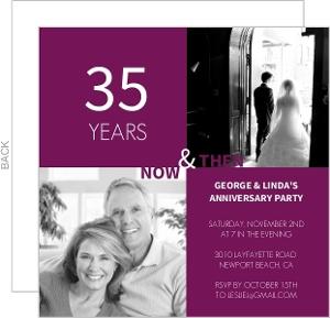 Purple Modern Squares 35Th Anniversary Invite