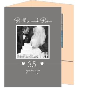 Peach And Gray Hearts 35Th Anniversary Invite