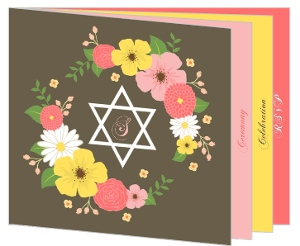 Spring Floral Booklet Bat Mitzvah Invitation