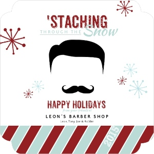 Retro Mustache Spa Business Holiday Greeting