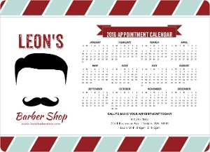 Retro Mustache Spa Business Magnet Calendar
