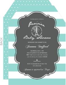 Teal Paris Stamp Baby Shower Invitation