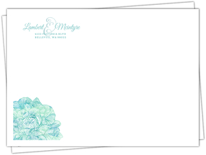 Romantic Aqua Floral Wedding Envelope