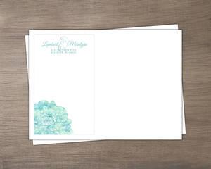 Romantic Aqua Floral Wedding Envelope