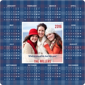 Winter Plaid Fridge Magnet Calendar