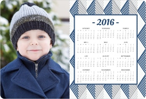 Navy Geometric Striipes Fridge Magnet Calendar
