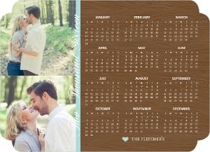 Rustic Woodgrain Fridge Magnet Calendar