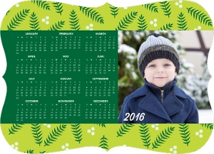 Green Holly Leaves Fridge Magnet Calendar