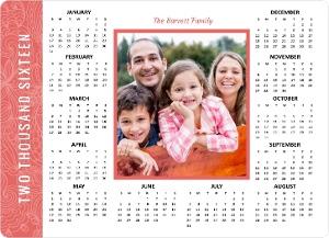 Modern Coral Flowers Fridge Magnet Calendar