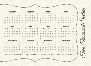 Elegant Damask Fridge Magnet Calendar
