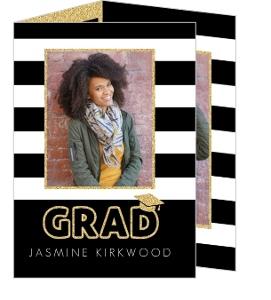 Glitter Black & White Stripes Trifold Graduation Announcement
