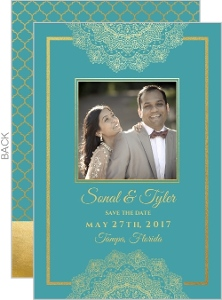 Teal and Faux Gold Mandala Save the Date Card