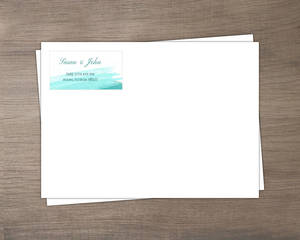 Blue Watercolor Beach Envelope