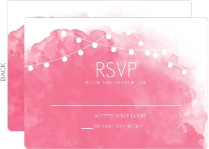 Pink Watercolor Wedding Response Card