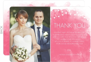 Pink Watercolor Wedding Thank You Card
