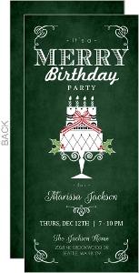 Green Cake Holiday Birthday Invitation