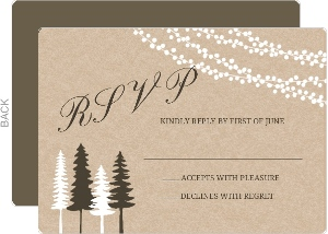 Lights And Rustic Trees Wedding Response Card